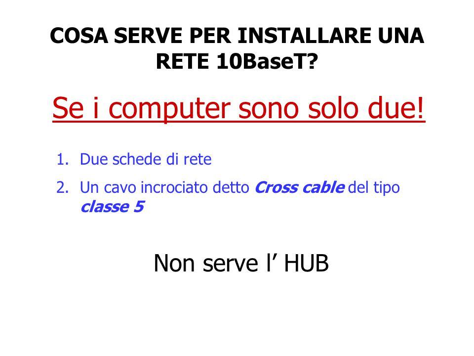 Se i computer sono solo due! 1.Due schede di rete 2.Un cavo incrociato detto Cross cable del tipo classe 5 Non serve l' HUB