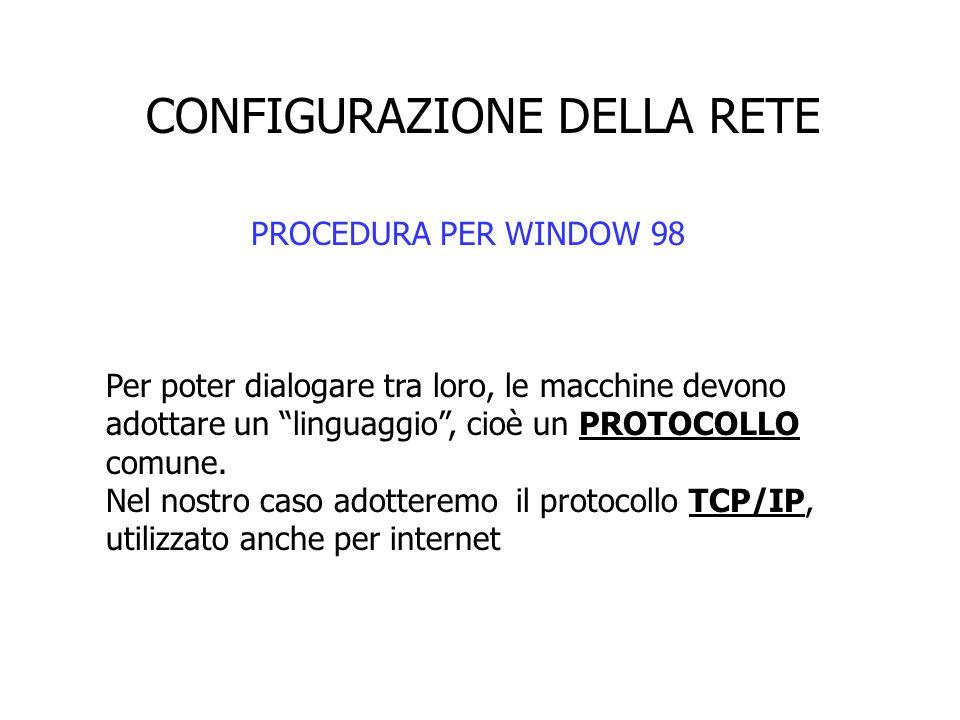 """CONFIGURAZIONE DELLA RETE PROCEDURA PER WINDOW 98 Per poter dialogare tra loro, le macchine devono adottare un """"linguaggio"""", cioè un PROTOCOLLO comune"""