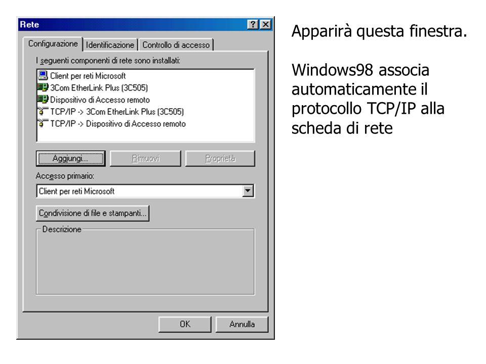 Apparirà questa finestra. Windows98 associa automaticamente il protocollo TCP/IP alla scheda di rete