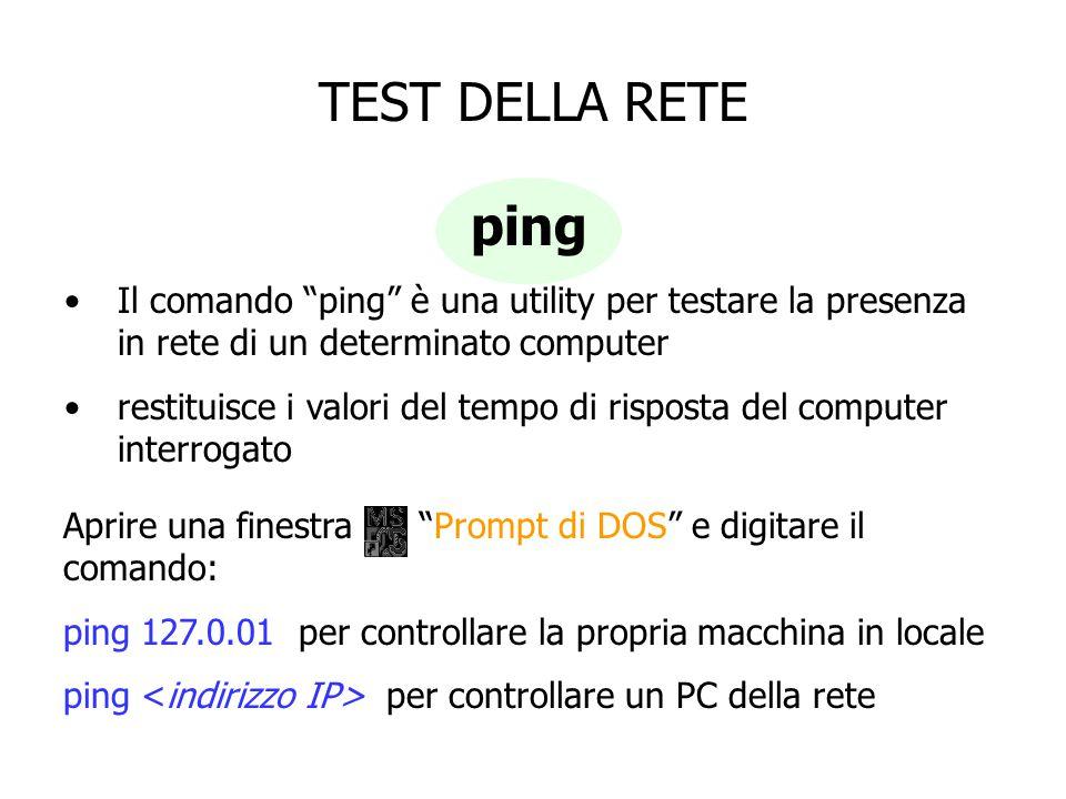 """TEST DELLA RETE ping Il comando """"ping"""" è una utility per testare la presenza in rete di un determinato computer restituisce i valori del tempo di risp"""
