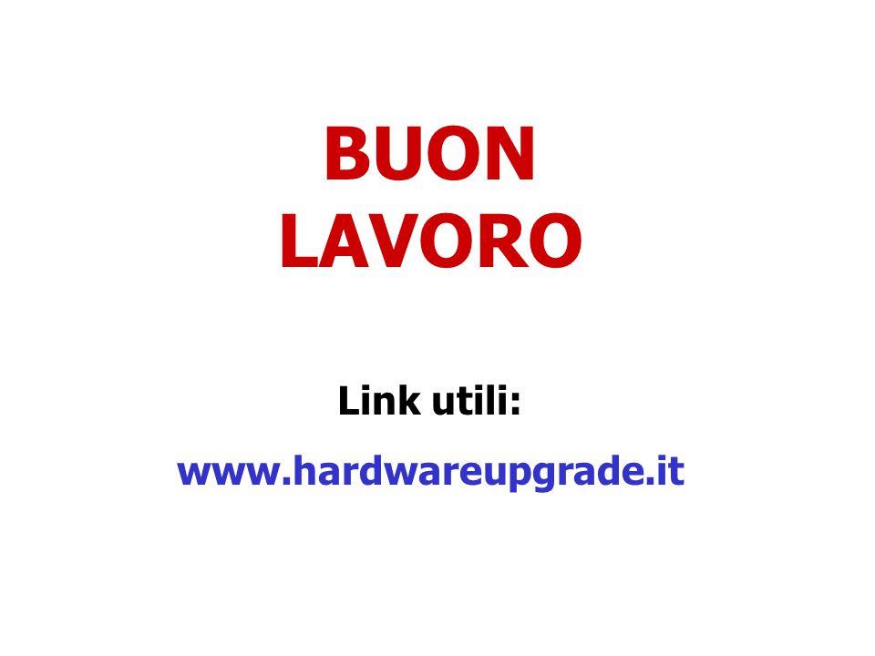BUON LAVORO Link utili: www.hardwareupgrade.it