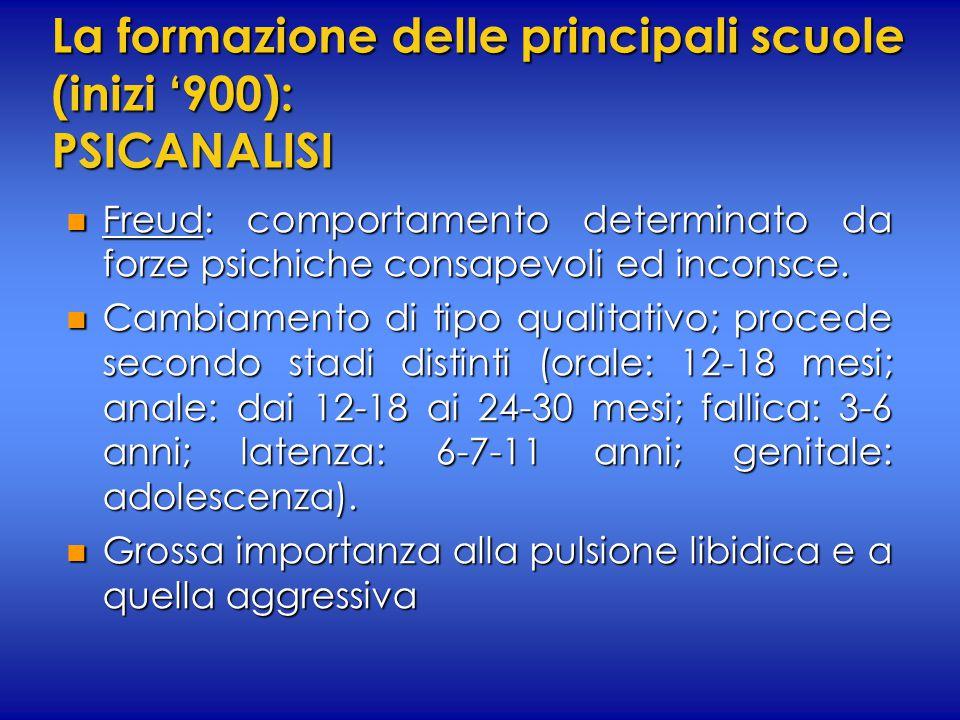 La formazione delle principali scuole (inizi '900): PSICANALISI n Freud: comportamento determinato da forze psichiche consapevoli ed inconsce. n Cambi