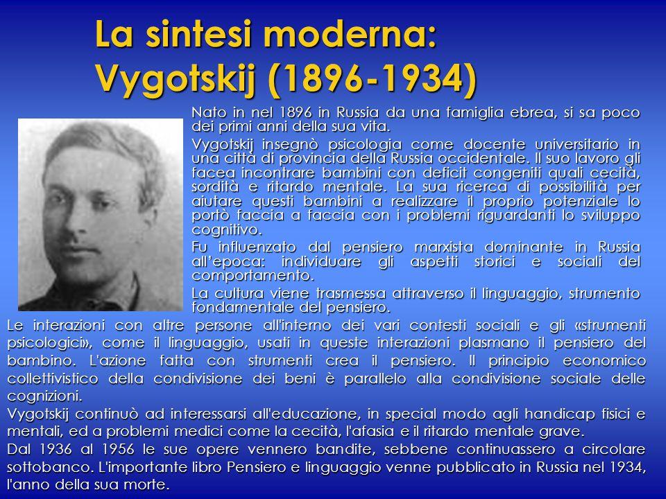La sintesi moderna: Vygotskij (1896-1934) Nato in nel 1896 in Russia da una famiglia ebrea, si sa poco dei primi anni della sua vita. Vygotskij insegn