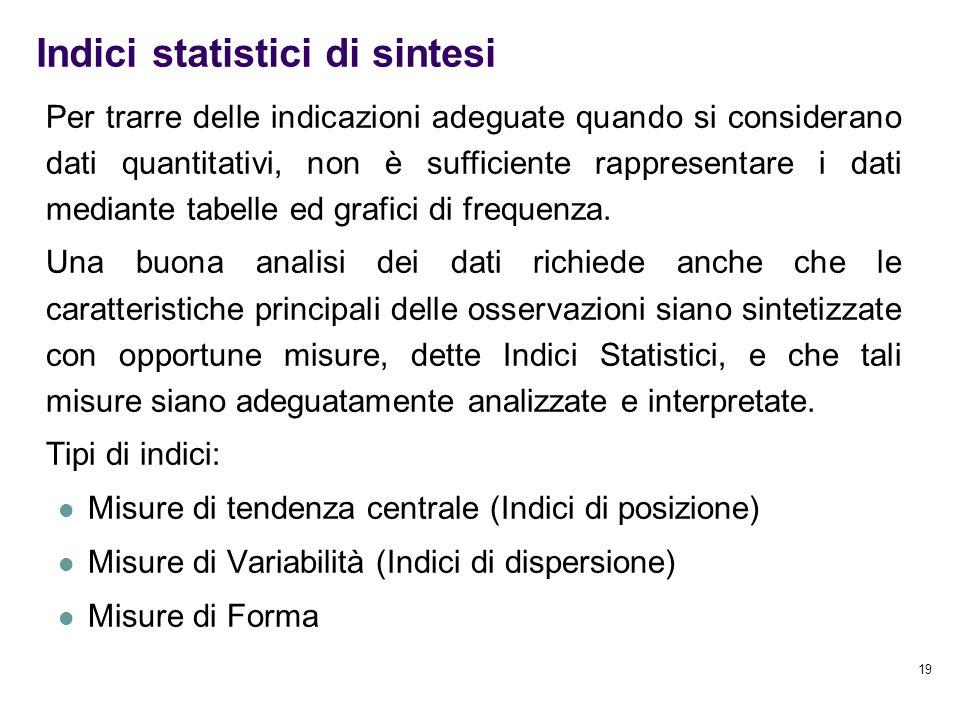 19 Indici statistici di sintesi Per trarre delle indicazioni adeguate quando si considerano dati quantitativi, non è sufficiente rappresentare i dati