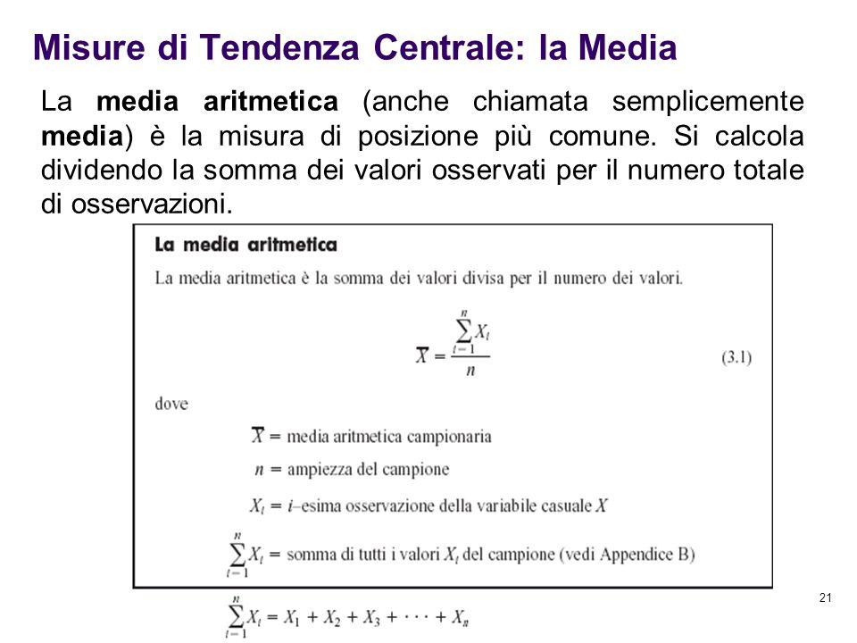 21 Misure di Tendenza Centrale: la Media La media aritmetica (anche chiamata semplicemente media) è la misura di posizione più comune. Si calcola divi
