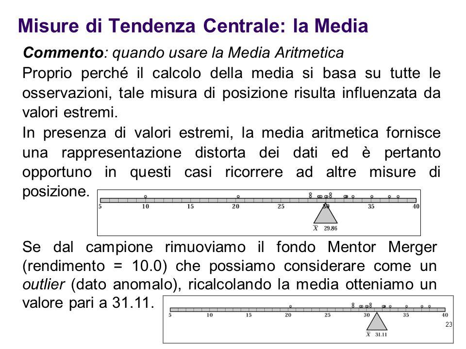 23 Commento: quando usare la Media Aritmetica Proprio perché il calcolo della media si basa su tutte le osservazioni, tale misura di posizione risulta