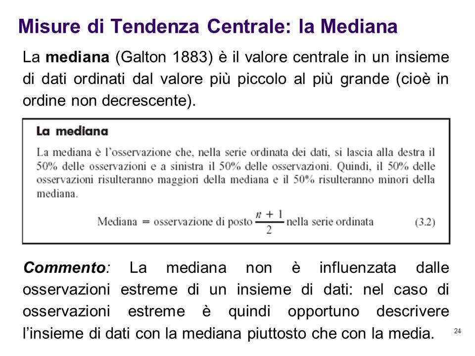 24 La mediana (Galton 1883) è il valore centrale in un insieme di dati ordinati dal valore più piccolo al più grande (cioè in ordine non decrescente).