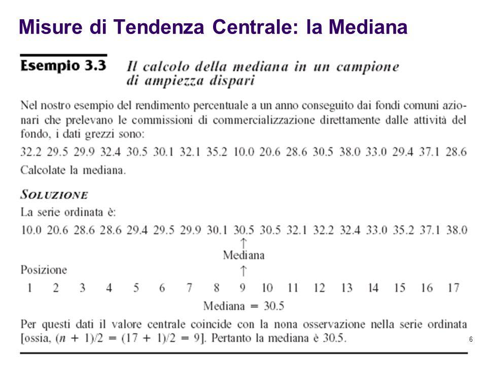 26 Misure di Tendenza Centrale: la Mediana