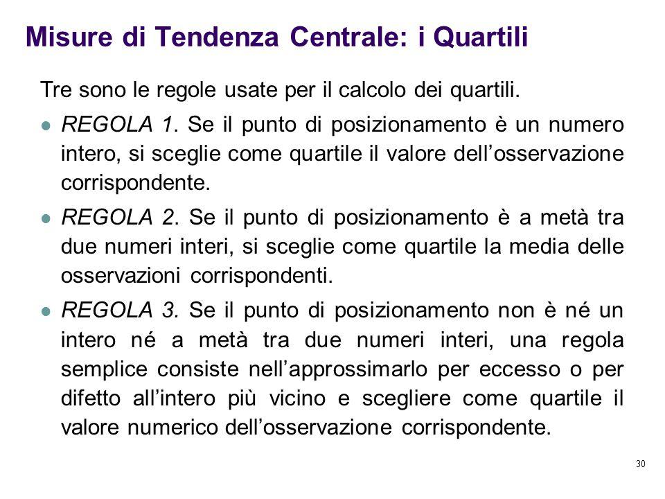 30 Misure di Tendenza Centrale: i Quartili Tre sono le regole usate per il calcolo dei quartili. REGOLA 1. Se il punto di posizionamento è un numero i