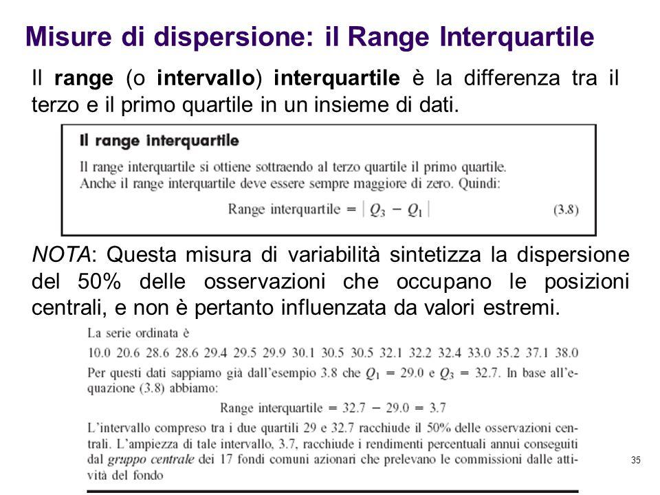 35 Misure di dispersione: il Range Interquartile Il range (o intervallo) interquartile è la differenza tra il terzo e il primo quartile in un insieme
