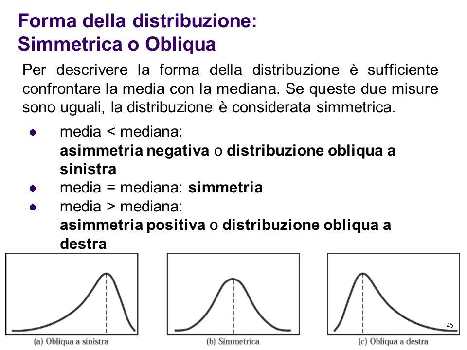45 Per descrivere la forma della distribuzione è sufficiente confrontare la media con la mediana. Se queste due misure sono uguali, la distribuzione è