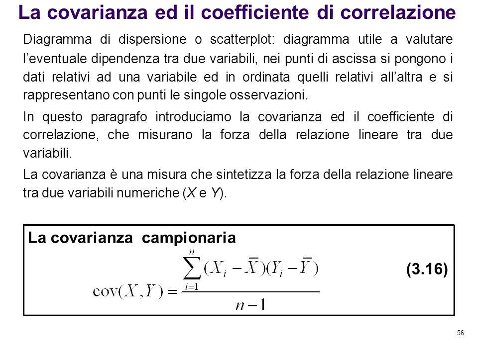 56 La covarianza ed il coefficiente di correlazione Diagramma di dispersione o scatterplot: diagramma utile a valutare l'eventuale dipendenza tra due