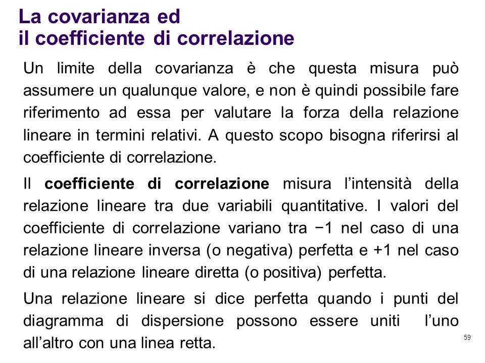 59 La covarianza ed il coefficiente di correlazione Un limite della covarianza è che questa misura può assumere un qualunque valore, e non è quindi po