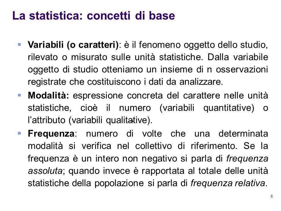 6 La statistica: concetti di base  Variabili (o caratteri): è il fenomeno oggetto dello studio, rilevato o misurato sulle unità statistiche. Dalla va