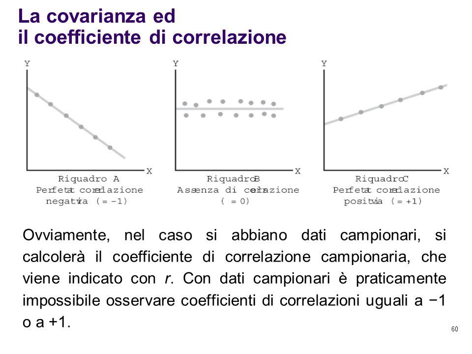 60 La covarianza ed il coefficiente di correlazione Ovviamente, nel caso si abbiano dati campionari, si calcolerà il coefficiente di correlazione camp