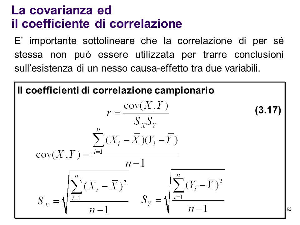 62 La covarianza ed il coefficiente di correlazione Il coefficienti di correlazione campionario (3.17) E' importante sottolineare che la correlazione
