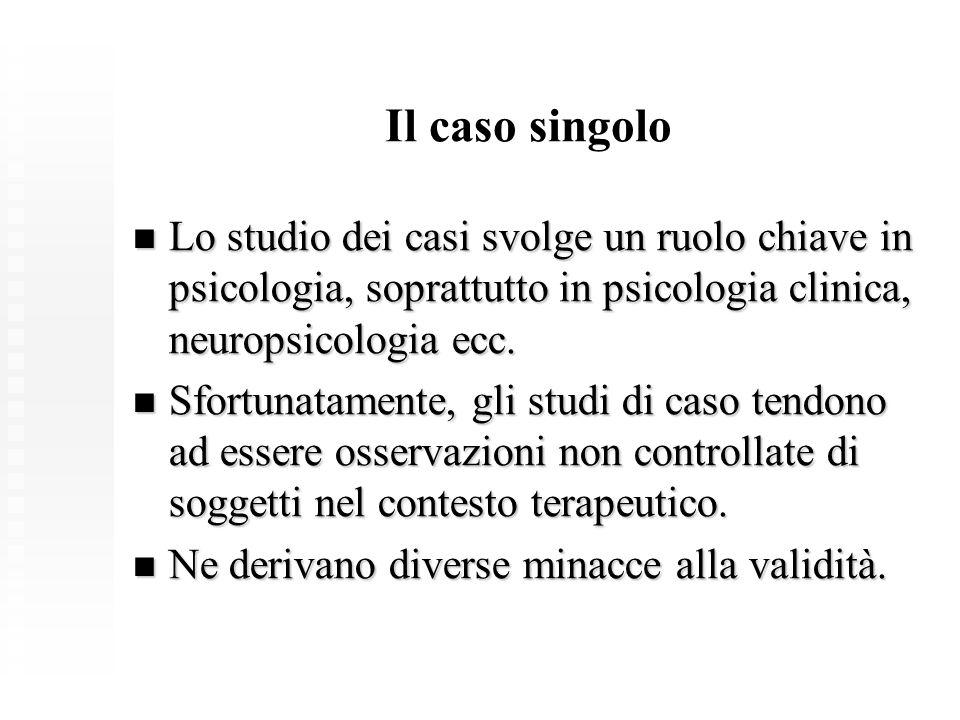 Il caso singolo Lo studio dei casi svolge un ruolo chiave in psicologia, soprattutto in psicologia clinica, neuropsicologia ecc. Lo studio dei casi sv