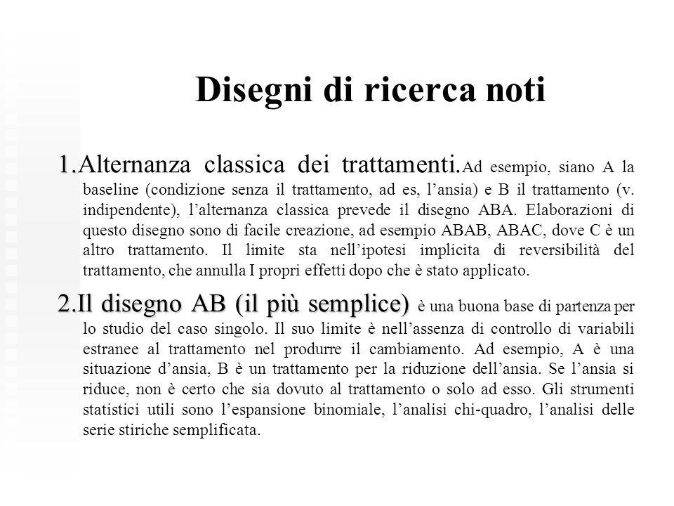 Disegni di ricerca noti 1. 1.Alternanza classica dei trattamenti. Ad esempio, siano A la baseline (condizione senza il trattamento, ad es, l'ansia) e