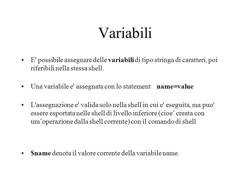 Variabili E' possibile assegnare delle variabili di tipo stringa di caratteri, poi riferibili nella stessa shell. Una variabile e' assegnata con lo st