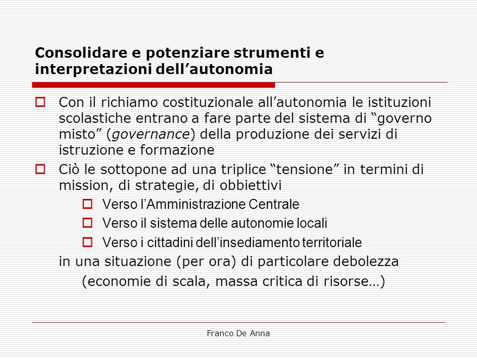 Franco De Anna Consolidare e potenziare strumenti e interpretazioni dell'autonomia  Con il richiamo costituzionale all'autonomia le istituzioni scola
