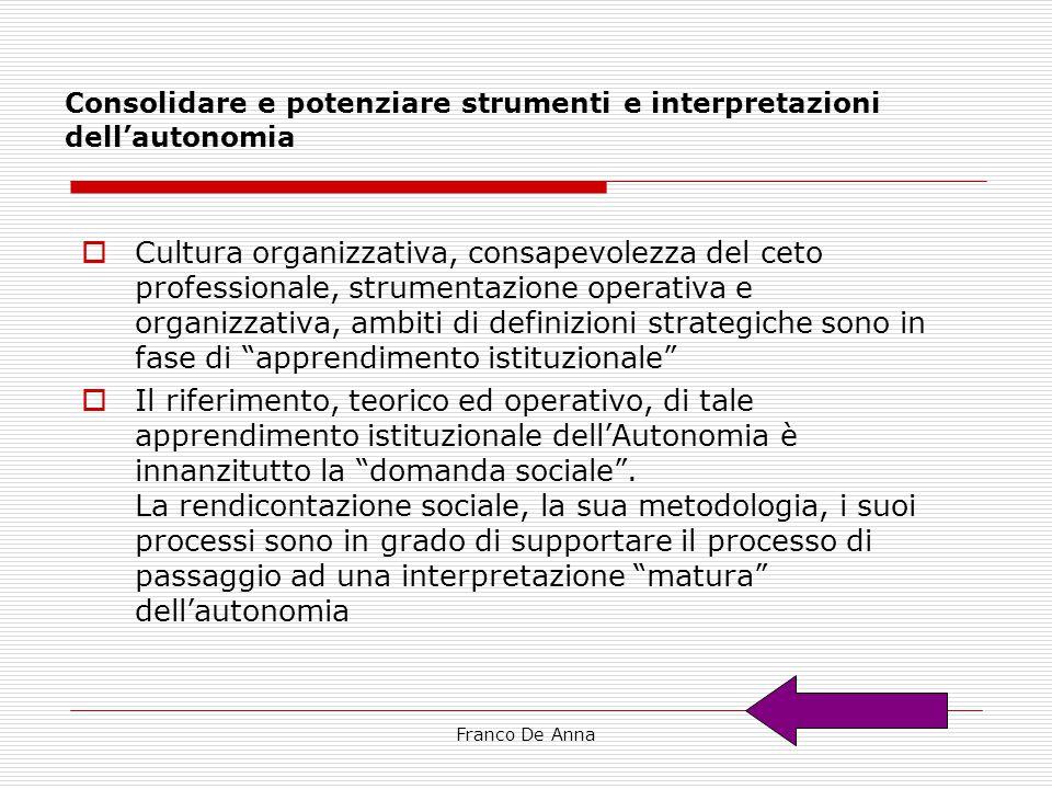 Franco De Anna Consolidare e potenziare strumenti e interpretazioni dell'autonomia  Cultura organizzativa, consapevolezza del ceto professionale, str
