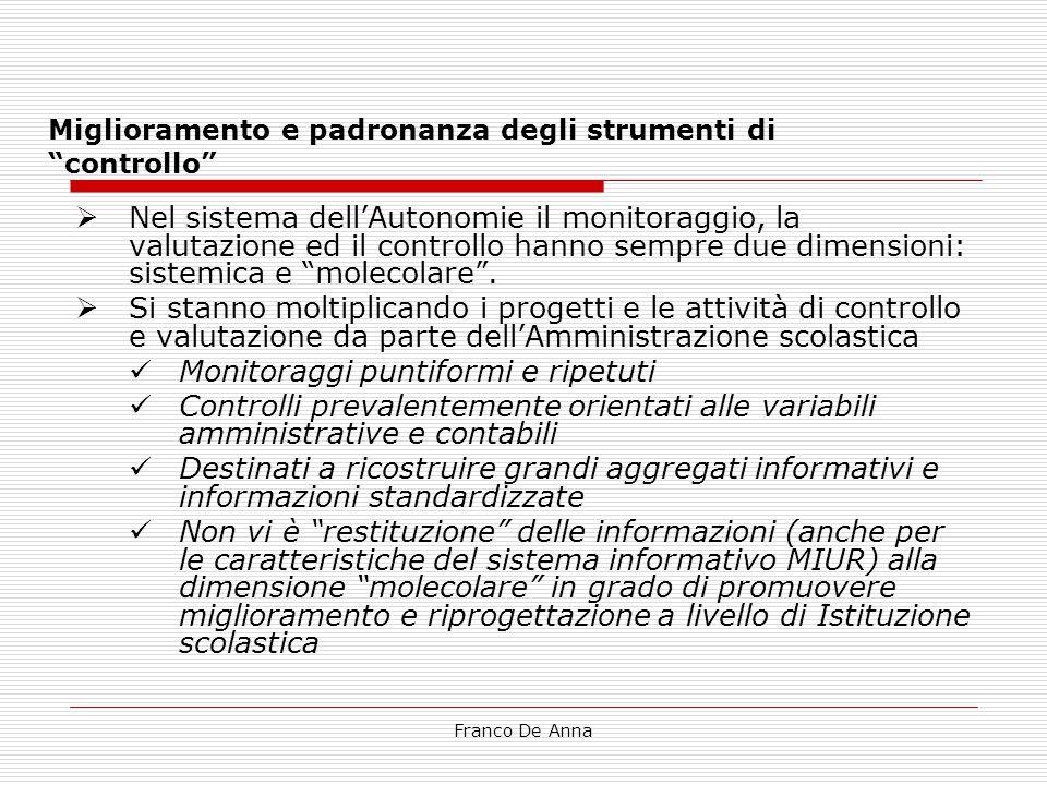 """Franco De Anna Miglioramento e padronanza degli strumenti di """"controllo""""  Nel sistema dell'Autonomie il monitoraggio, la valutazione ed il controllo"""