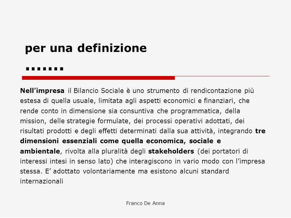 Franco De Anna per una definizione ……. Nell'impresa il Bilancio Sociale è uno strumento di rendicontazione più estesa di quella usuale, limitata agli