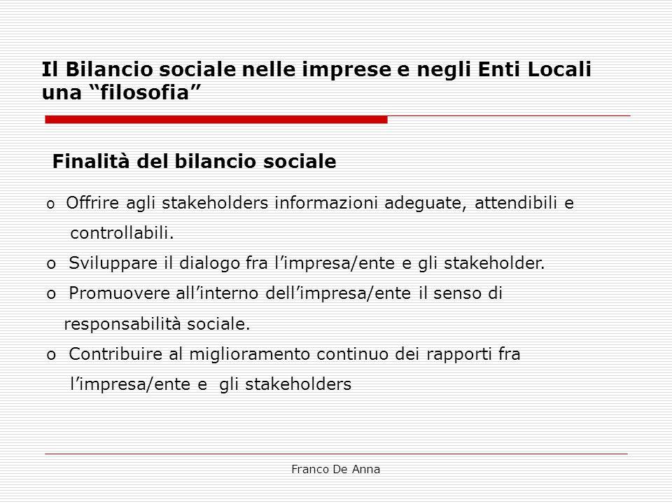 Franco De Anna L'informazione è adeguata quando consente agli stakeholder di:  Conoscere l'impresa/ente, anche in quegli aspetti che non emergono dalle fonti tradizionali di comunicazione (es.