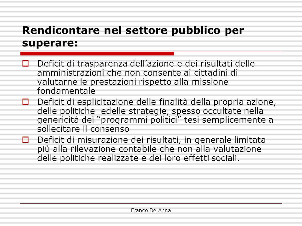 Franco De Anna Rendicontare nel settore pubblico per superare:  Deficit di trasparenza dell'azione e dei risultati delle amministrazioni che non cons