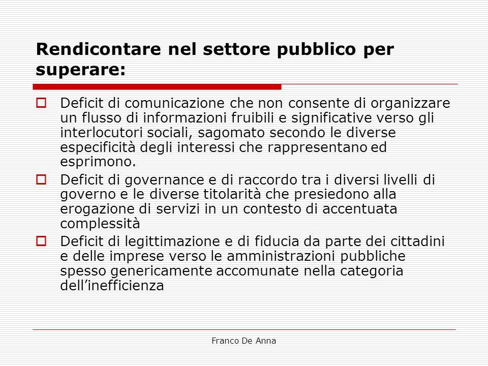Franco De Anna Rendicontare nel settore pubblico per superare:  Deficit di comunicazione che non consente di organizzare un flusso di informazioni fr