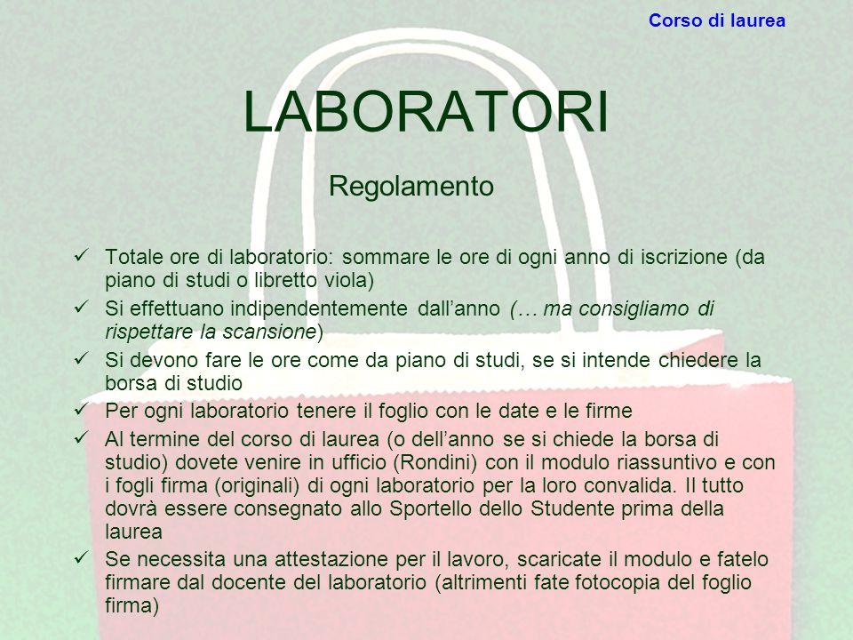 LABORATORI Totale ore di laboratorio: sommare le ore di ogni anno di iscrizione (da piano di studi o libretto viola) Si effettuano indipendentemente d