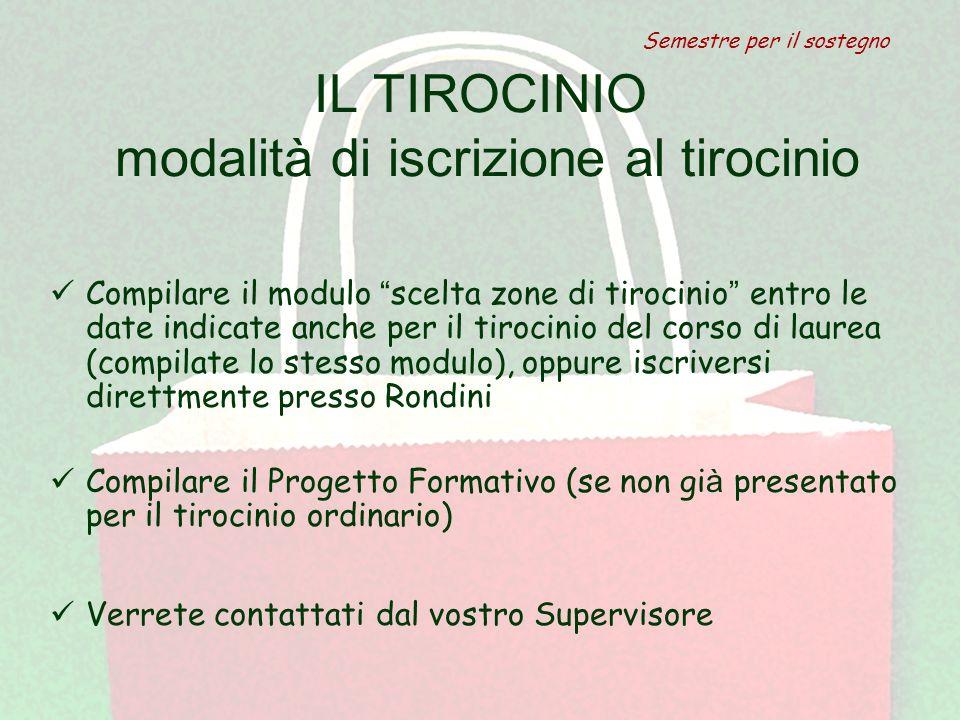 """IL TIROCINIO modalità di iscrizione al tirocinio Compilare il modulo """" scelta zone di tirocinio """" entro le date indicate anche per il tirocinio del co"""