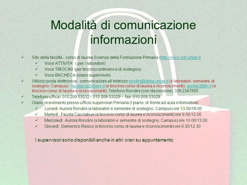 Modalità di comunicazione informazioni Sito della facoltà - corso di laurea Scienze della Formazione Primaria (http://www.sdf.unige.ithttp://www.sdf.u