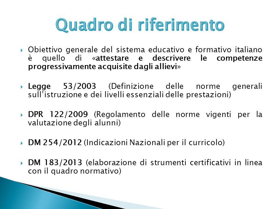  Obiettivo generale del sistema educativo e formativo italiano è quello di «attestare e descrivere le competenze progressivamente acquisite dagli all