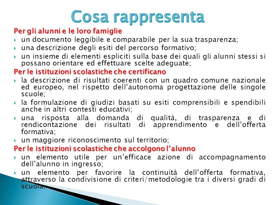 Per gli alunni e le loro famiglie  un documento leggibile e comparabile per la sua trasparenza;  una descrizione degli esiti del percorso formativo;