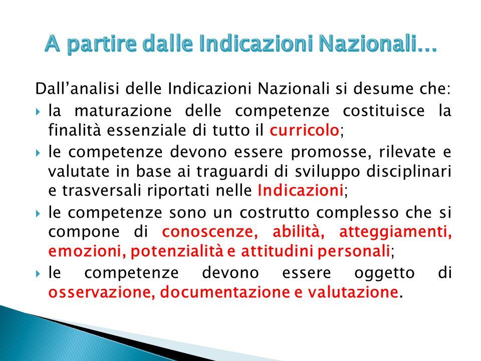 Dall'analisi delle Indicazioni Nazionali si desume che:  la maturazione delle competenze costituisce la finalità essenziale di tutto il curricolo; 
