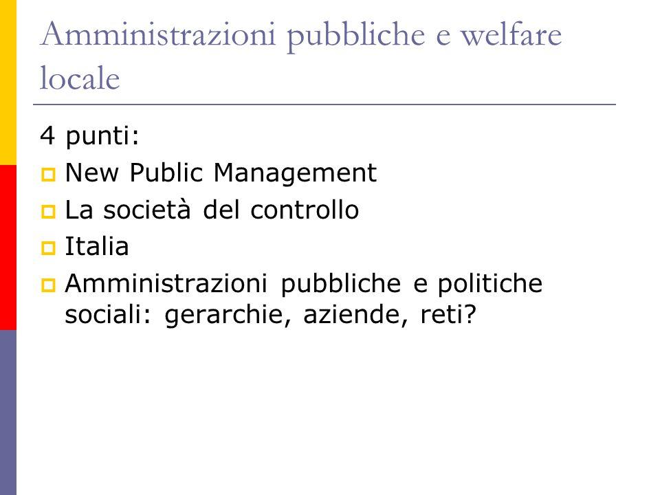 Amministrazioni pubbliche e welfare locale 4 punti:  New Public Management  La società del controllo  Italia  Amministrazioni pubbliche e politiche sociali: gerarchie, aziende, reti