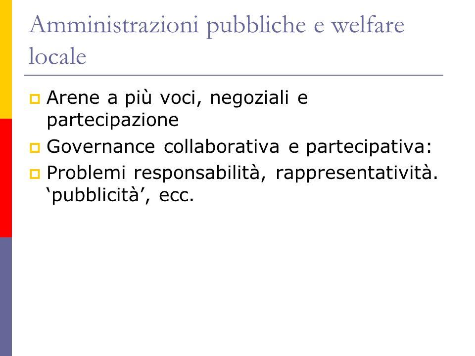 Amministrazioni pubbliche e welfare locale  Arene a più voci, negoziali e partecipazione  Governance collaborativa e partecipativa:  Problemi responsabilità, rappresentatività.