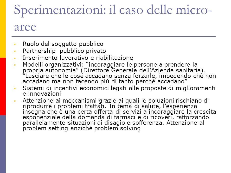 Sperimentazioni: il caso delle micro- aree  Ruolo del soggetto pubblico  Partnership pubblico privato  Inserimento lavorativo e riabilitazione  Mo