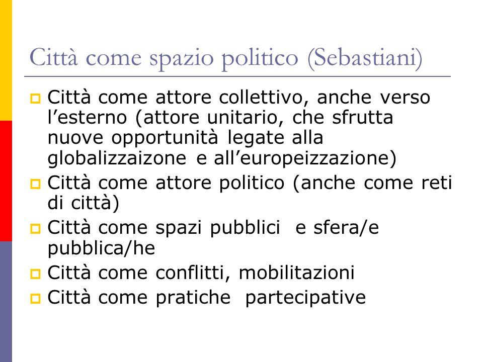 Città come spazio politico (Sebastiani)  Città come attore collettivo, anche verso l'esterno (attore unitario, che sfrutta nuove opportunità legate a