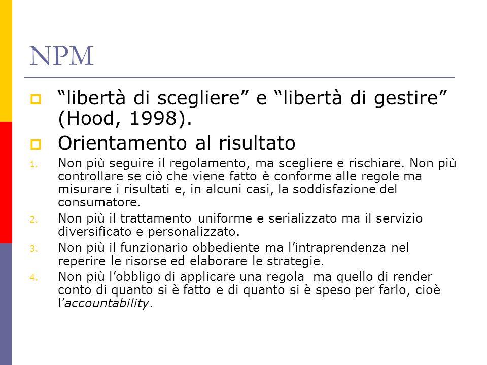 """NPM  """"libertà di scegliere"""" e """"libertà di gestire"""" (Hood, 1998).  Orientamento al risultato 1. Non più seguire il regolamento, ma scegliere e rischi"""