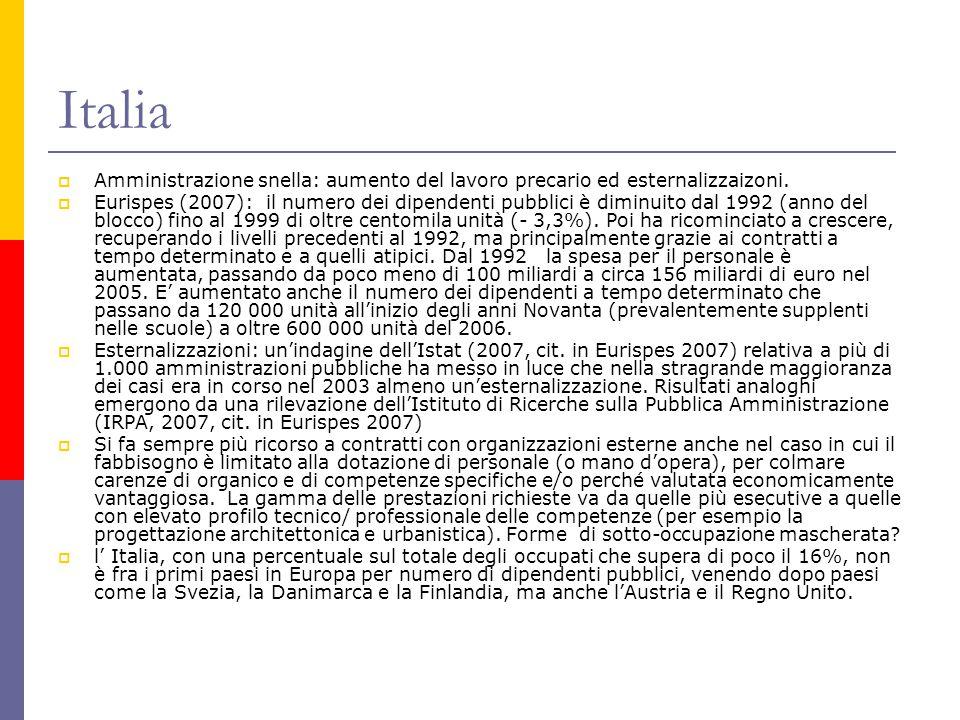 Italia  Amministrazione snella: aumento del lavoro precario ed esternalizzaizoni.  Eurispes (2007): il numero dei dipendenti pubblici è diminuito da