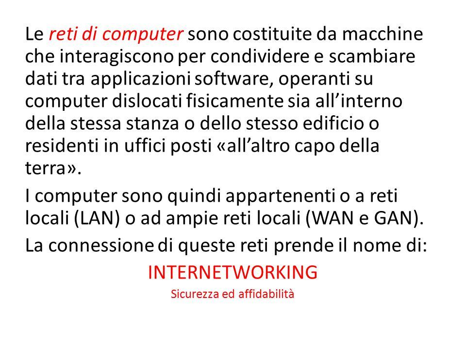 Le reti di computer sono costituite da macchine che interagiscono per condividere e scambiare dati tra applicazioni software, operanti su computer dis