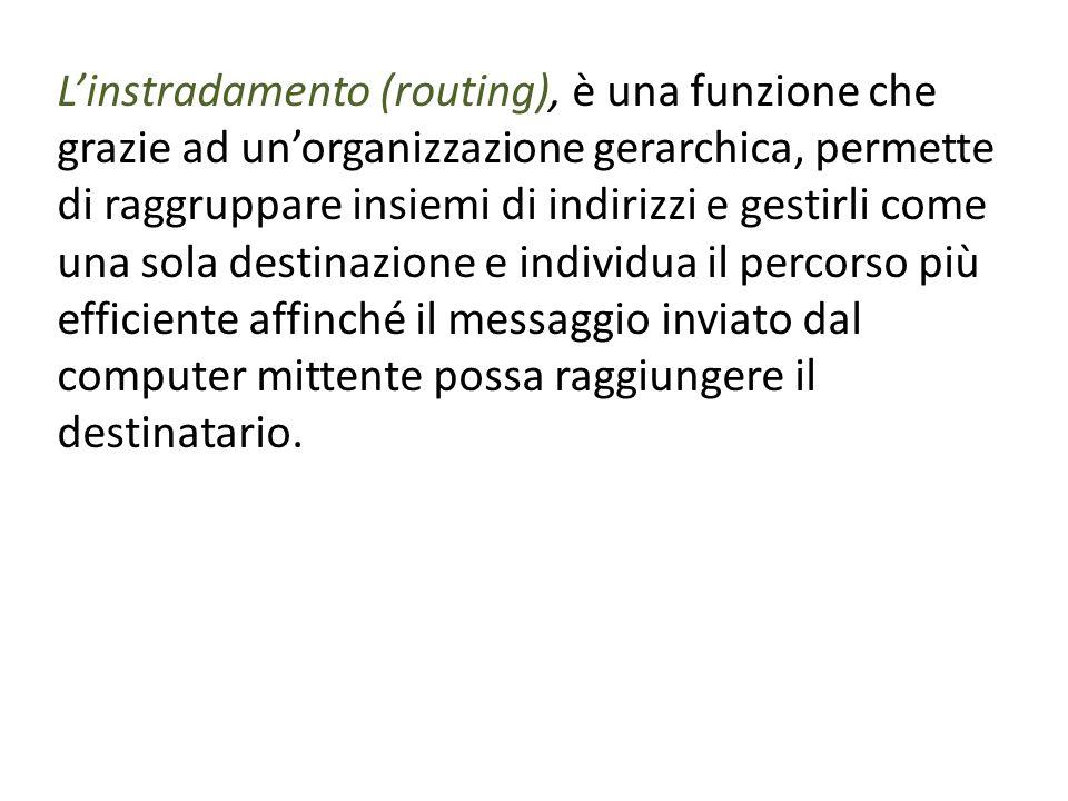L'instradamento (routing), è una funzione che grazie ad un'organizzazione gerarchica, permette di raggruppare insiemi di indirizzi e gestirli come una