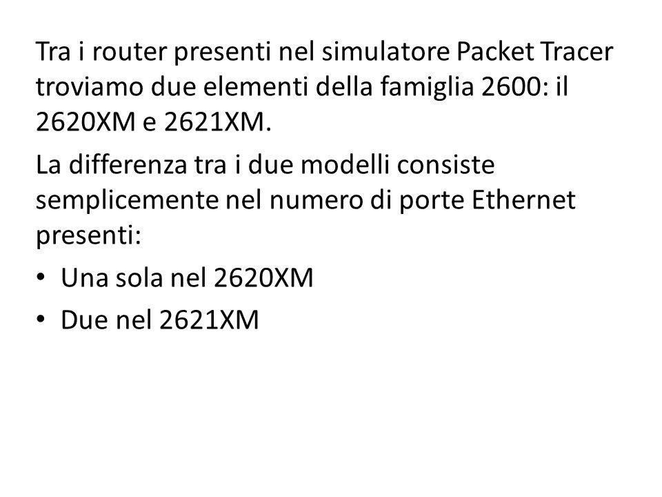Tra i router presenti nel simulatore Packet Tracer troviamo due elementi della famiglia 2600: il 2620XM e 2621XM. La differenza tra i due modelli cons