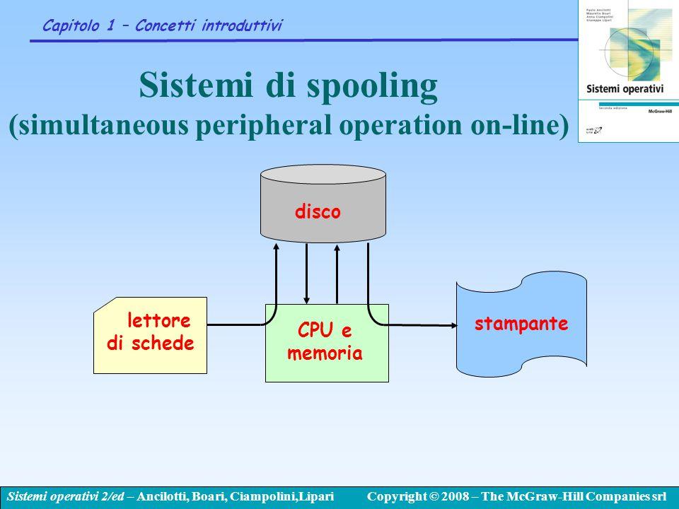 Sistemi operativi 2/ed – Ancilotti, Boari, Ciampolini,LipariCopyright © 2008 – The McGraw-Hill Companies srl Capitolo 1 – Concetti introduttivi Sistem