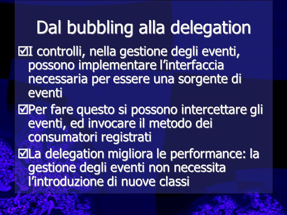 Dal bubbling alla delegation  I controlli, nella gestione degli eventi, possono implementare l'interfaccia necessaria per essere una sorgente di even