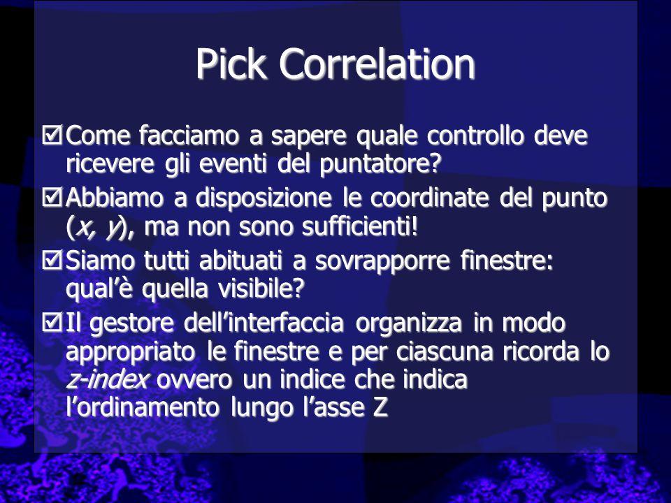 Pick Correlation  Come facciamo a sapere quale controllo deve ricevere gli eventi del puntatore?  Abbiamo a disposizione le coordinate del punto (x,