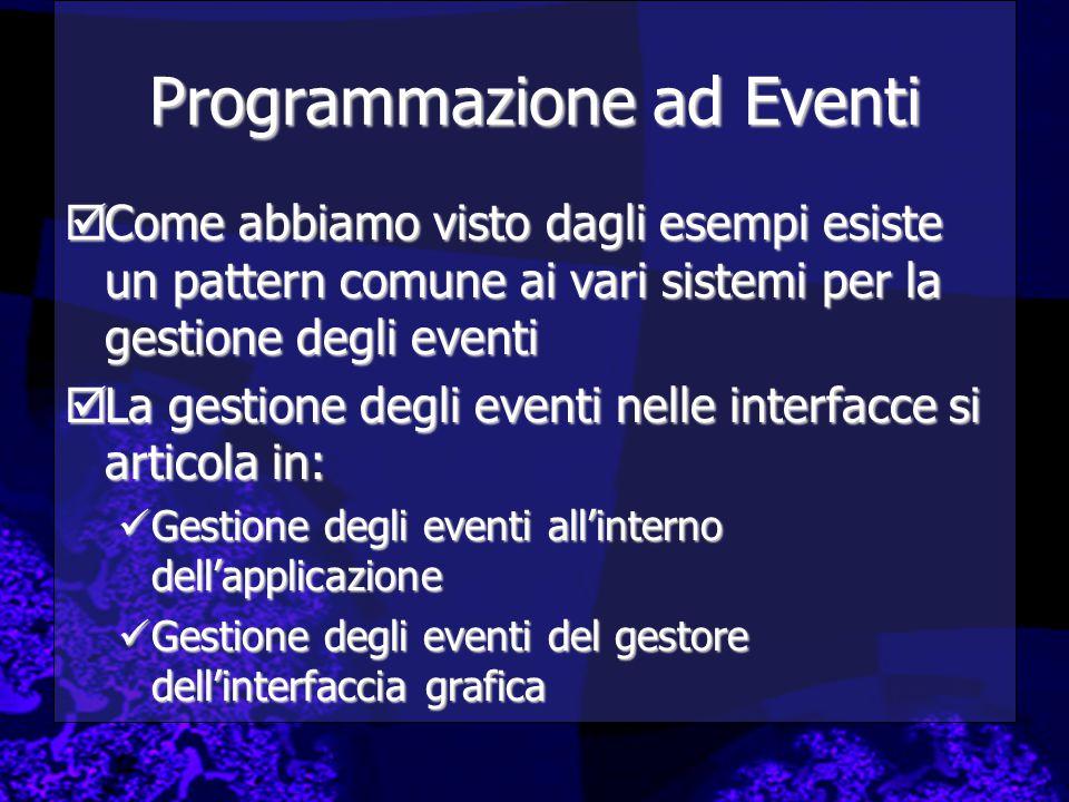 Programmazione ad Eventi  Come abbiamo visto dagli esempi esiste un pattern comune ai vari sistemi per la gestione degli eventi  La gestione degli e
