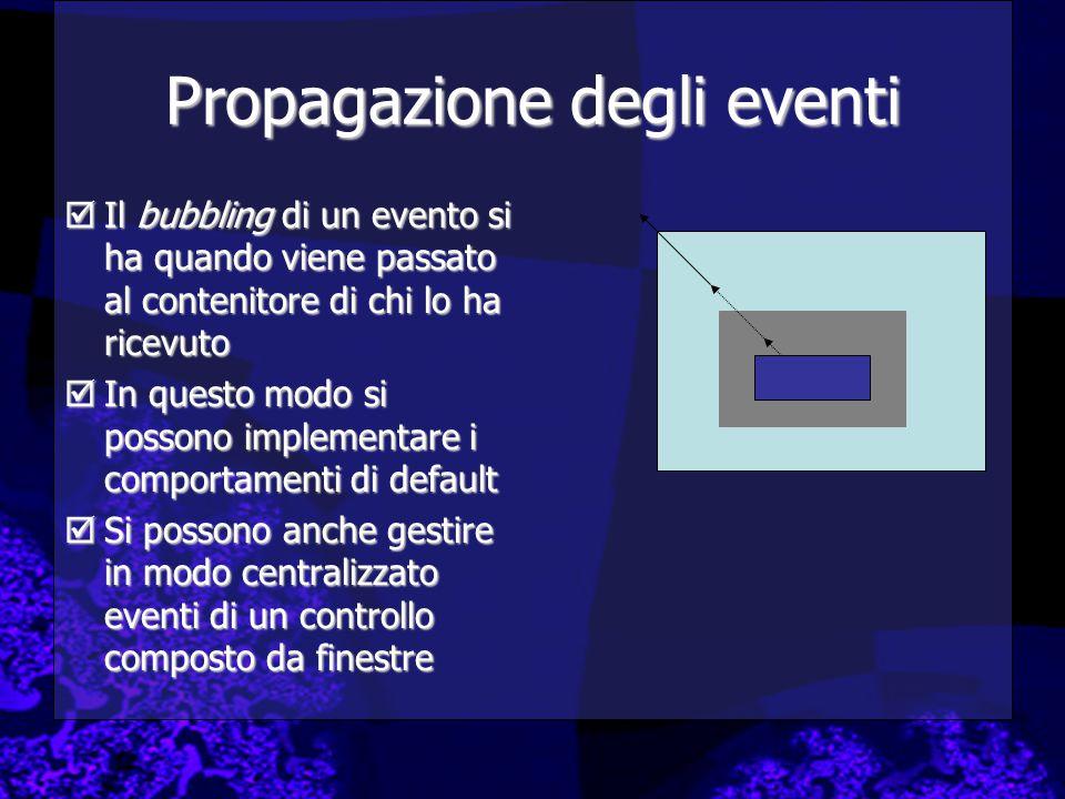 Propagazione degli eventi  Il bubbling di un evento si ha quando viene passato al contenitore di chi lo ha ricevuto  In questo modo si possono imple